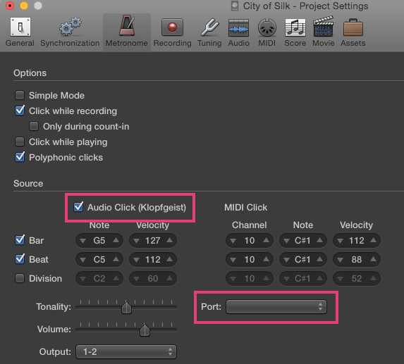 Using Logic Pro X, metronome sound has ch… - Apple Community