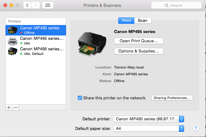 Canon MP495 series will not operate from … - Apple Community