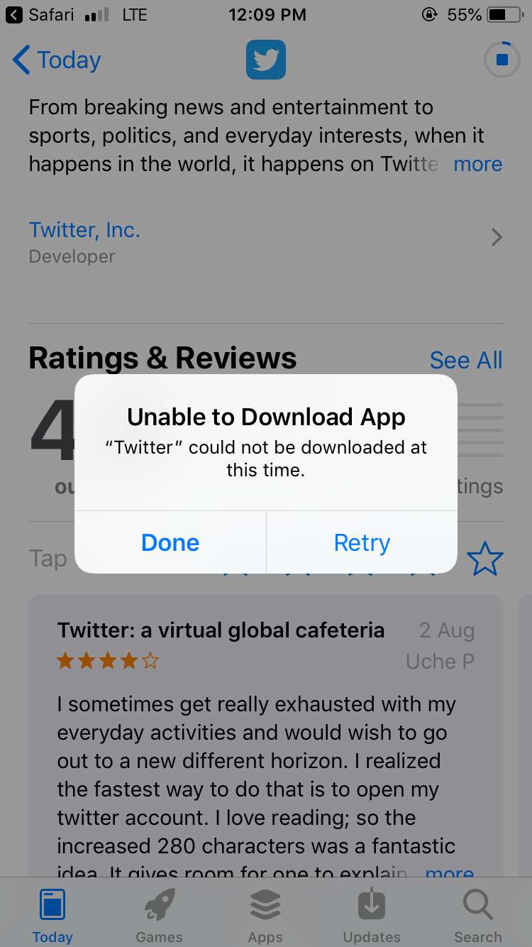 I can't download Twitter app on iPhone 20s   Apple Community