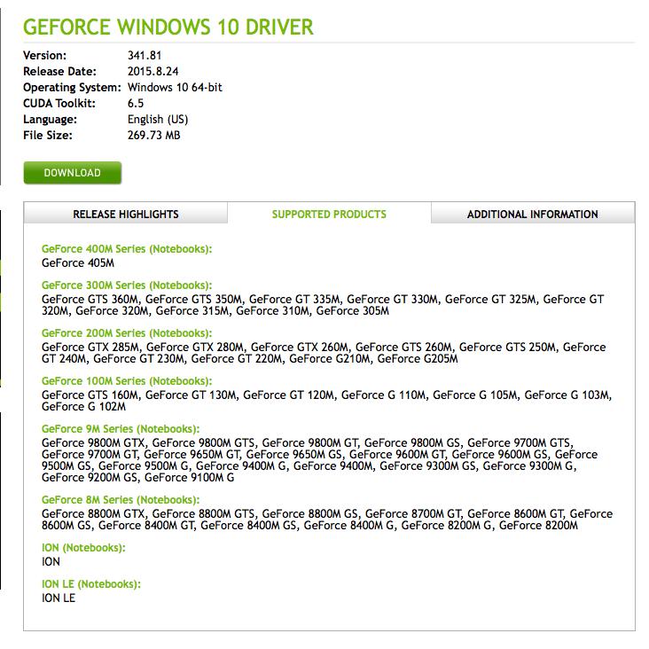 Driver 9600m vista geforce gs nvidia