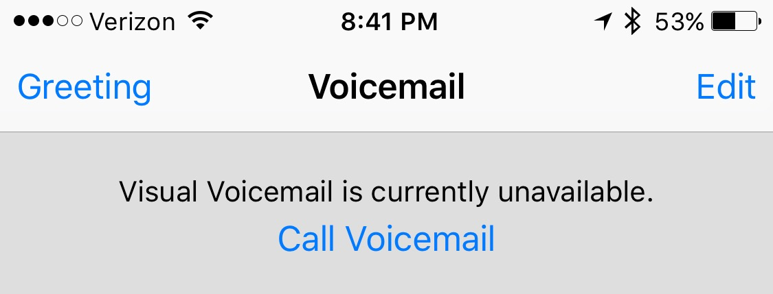 visual voicemail unavailable iphone 5s
