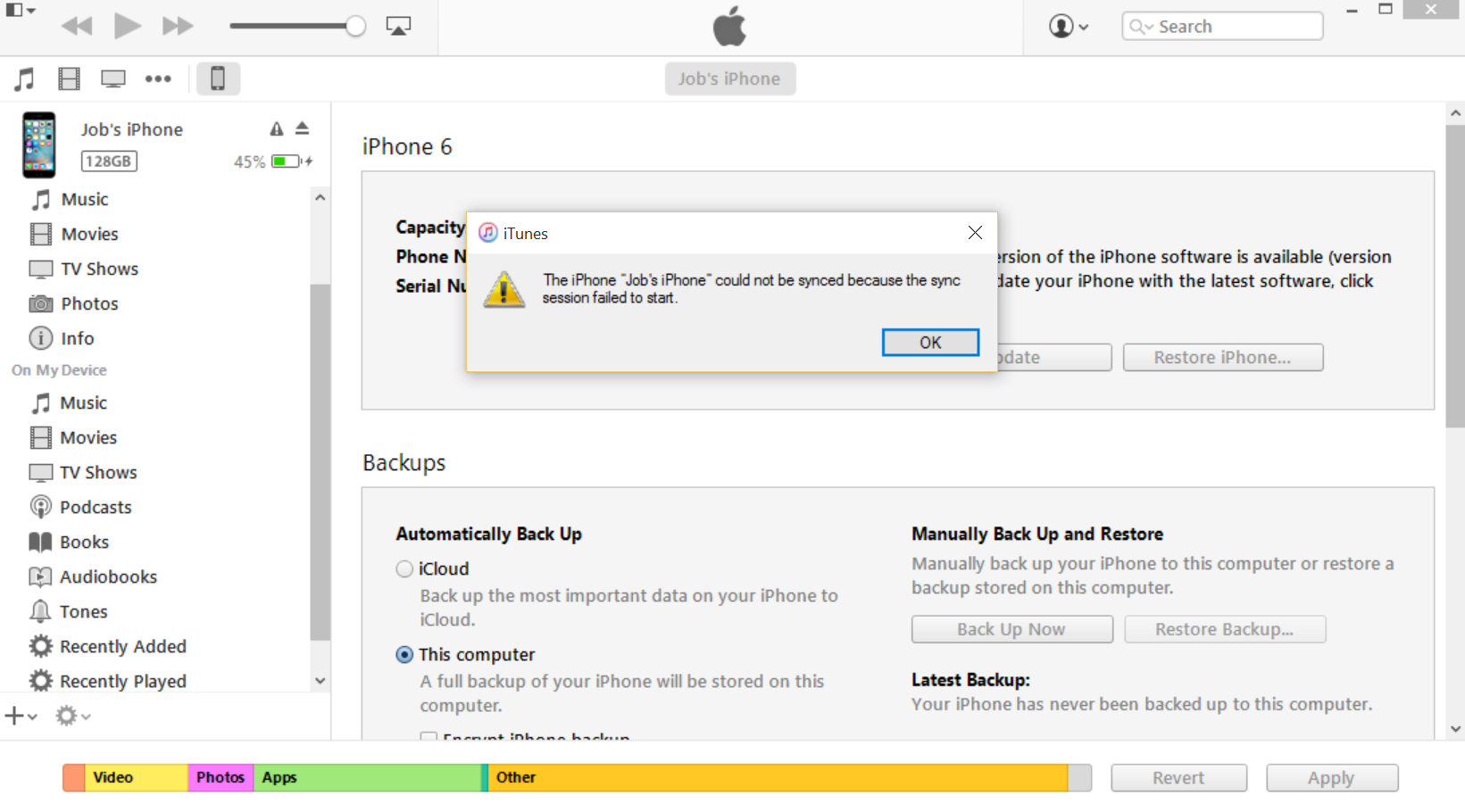 IPHONE: sync session failed to start - Apple Community