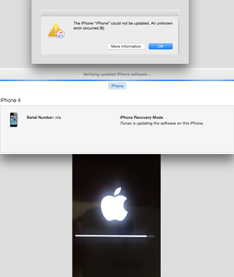 iphone 4 stuck in recovery mode after uns… - Apple Community