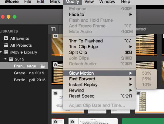 Imovie greyed out