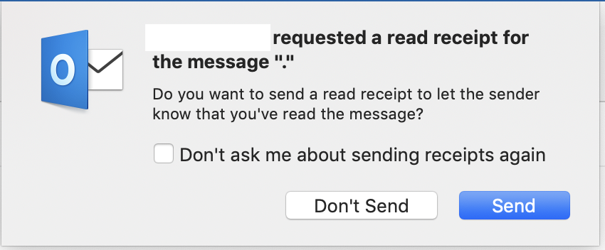 Disable sending Read Receipt on Outlook 2… - Apple Community
