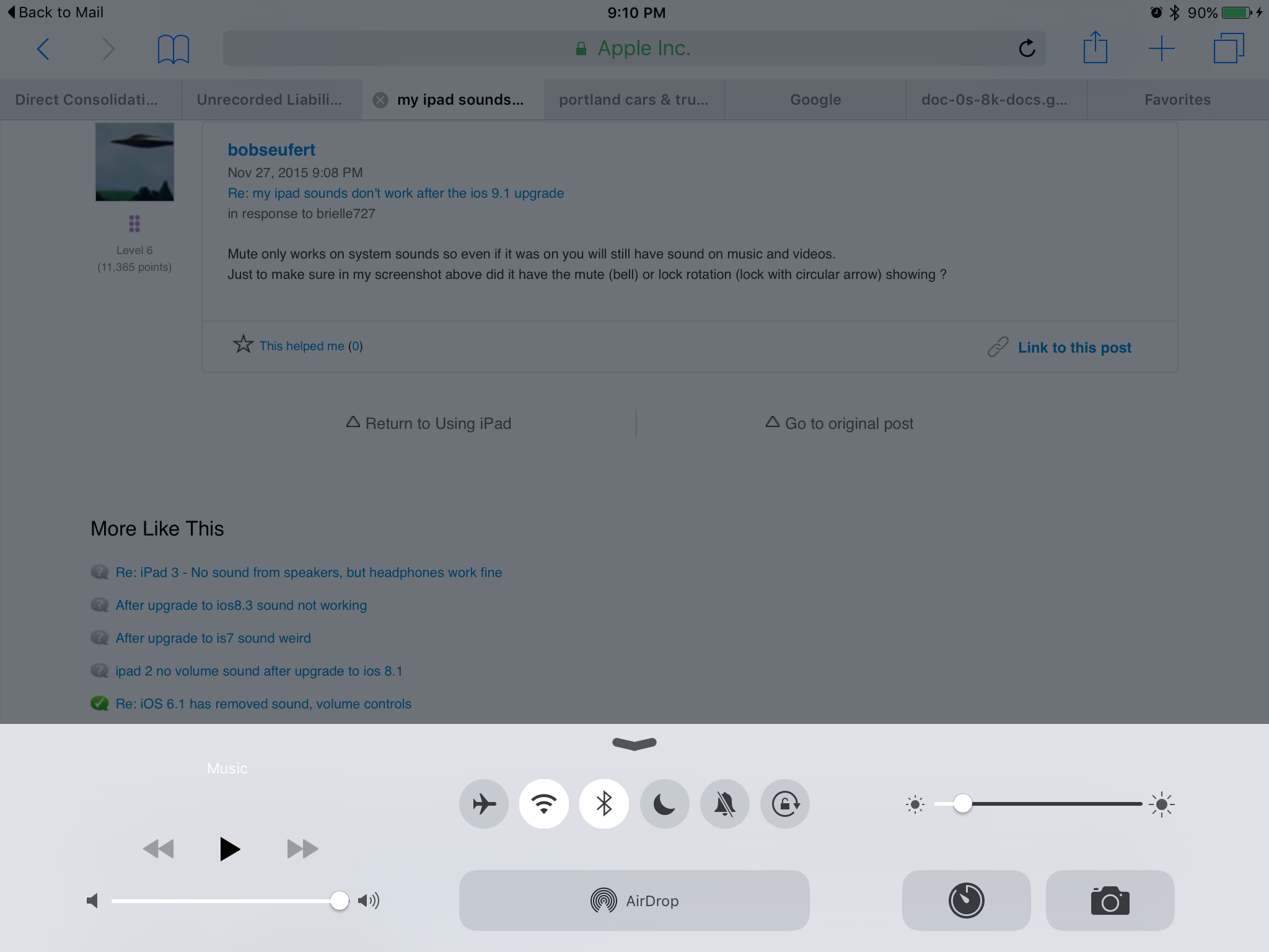 my ipad sounds don't work after the i… - Apple Community