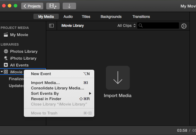 My iMovie library is empty but huge! - Apple Community