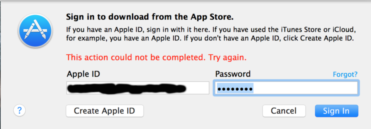 itunes this action could not be completed try again