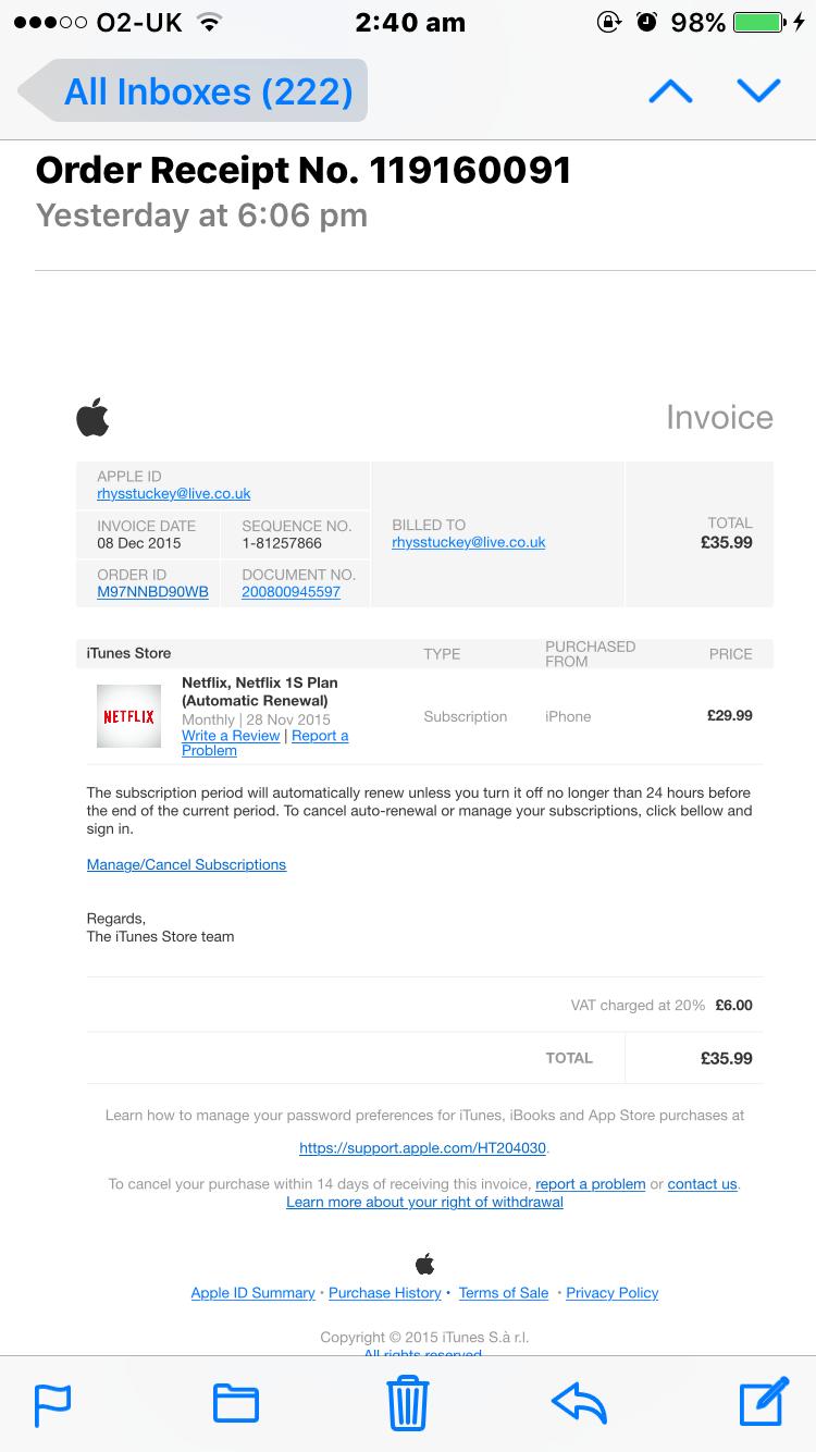 scam invoice received