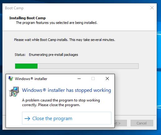 Windows 10 upgrade: Bootcamp installer st… - Apple Community
