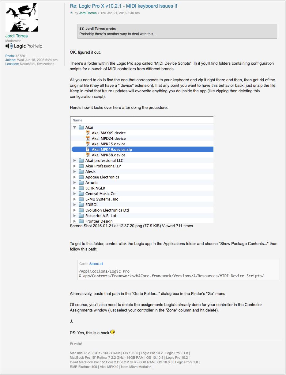 Logic update 10 2 1 Problem: Roland A-49 … - Apple Community