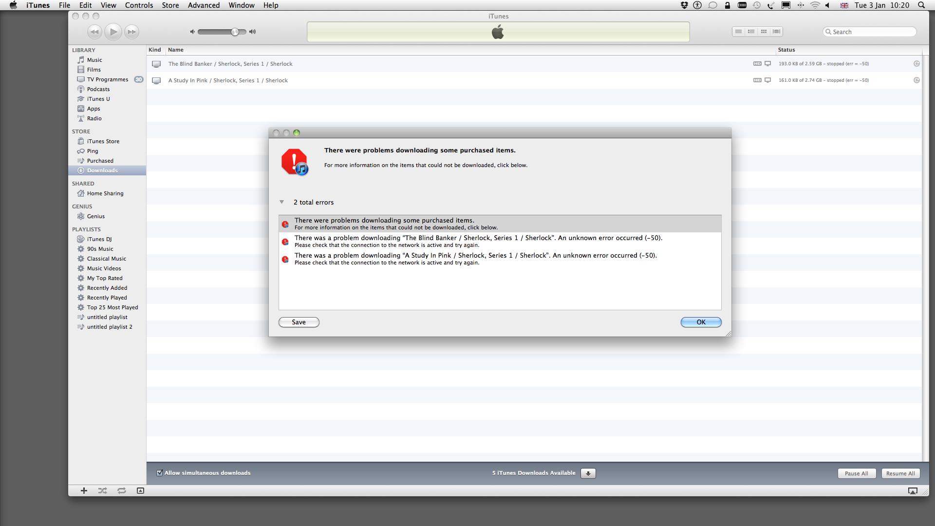 stopped (err = -50) - Apple Community
