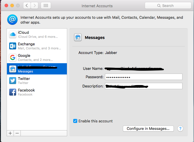cannot add a jabber account to messages - Apple Community