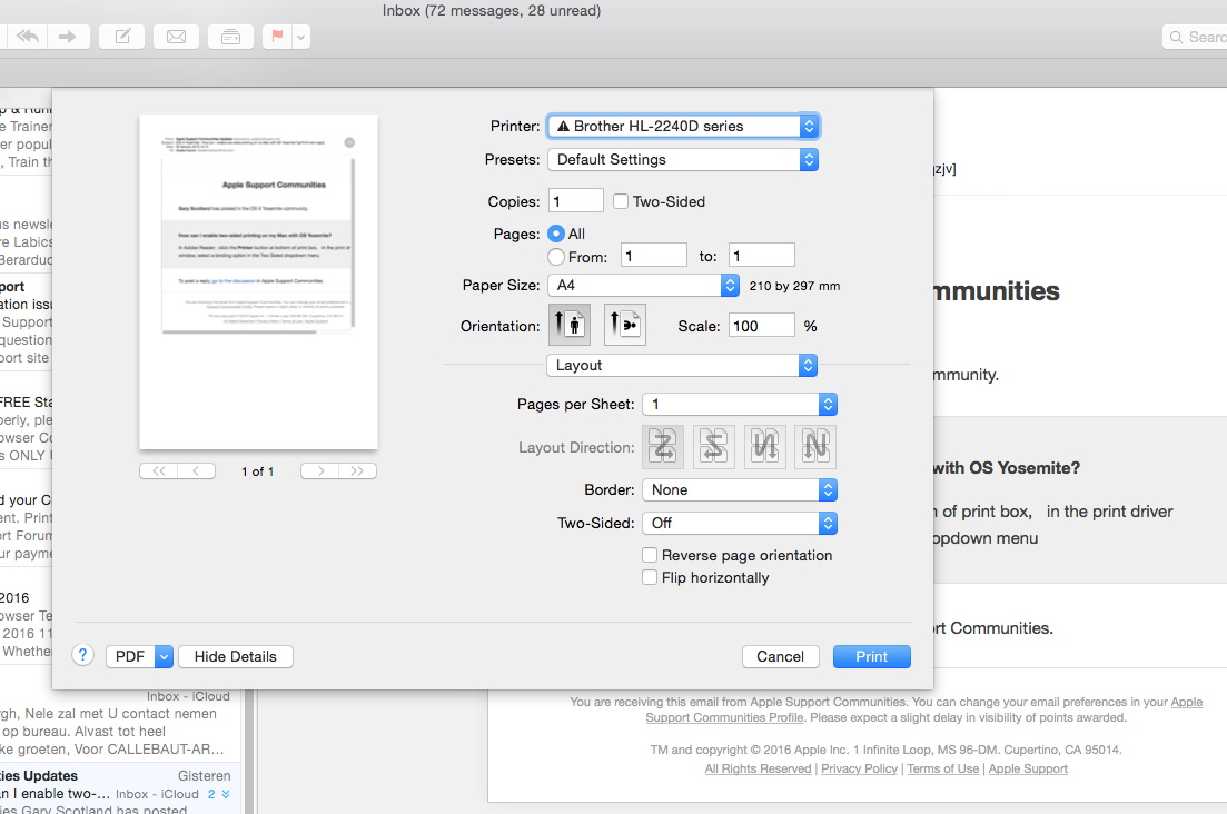 How can I enable two-sided printing on my… - Apple Community