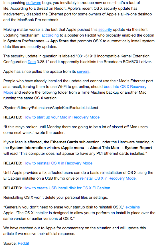 Ethernet Not working - Apple Community