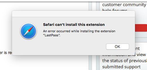 safari cant install lastpass extension