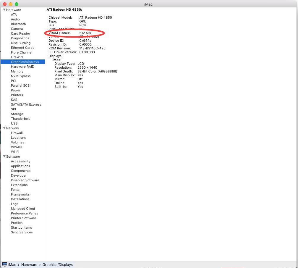VRAM storage on El Capitan - Apple Community