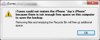 Cannot restore from backup not enough spa… - Apple Community
