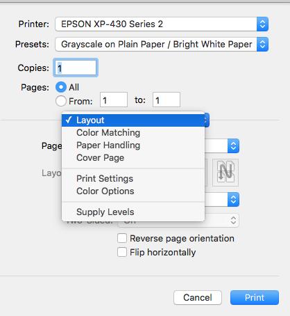 Can't change print settings - Apple Community