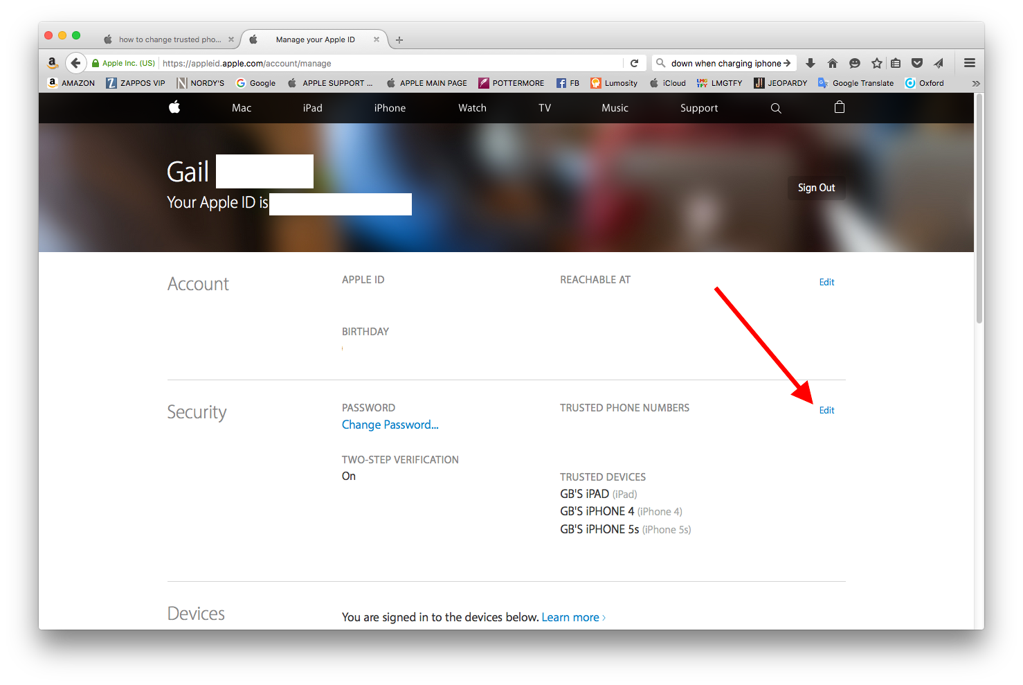 how to change trusted phone number - Apple Community