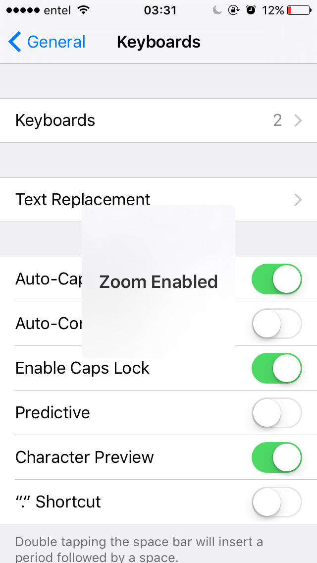 Iphone keeps saying zoom enabled