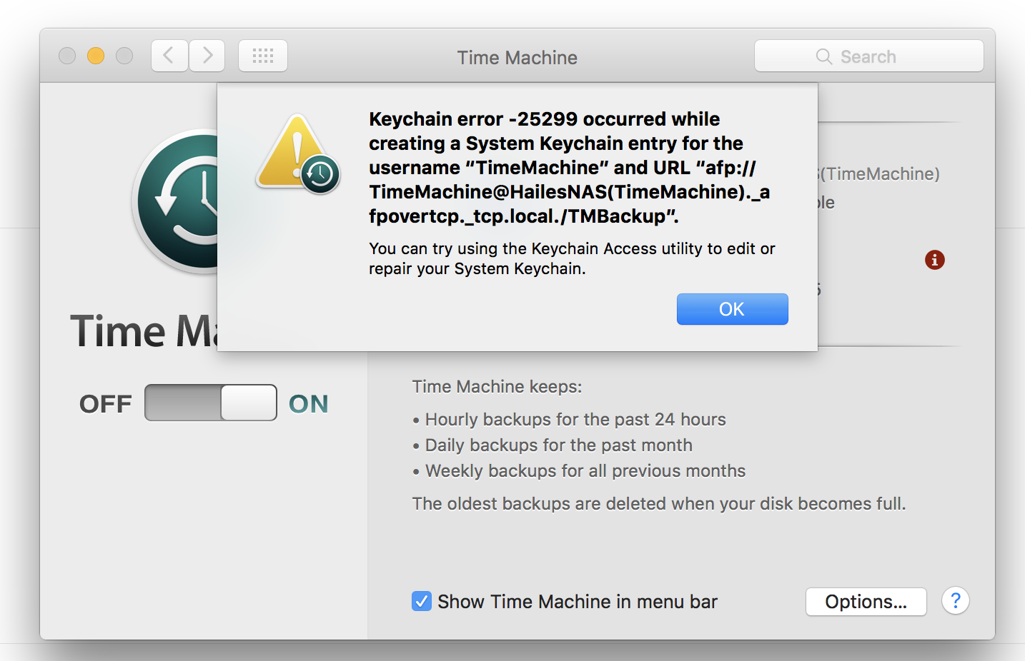 TimeMachine Keychain error 25299 - Apple Community 046c8364a