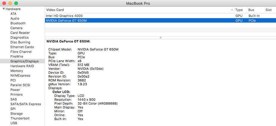 El Capitan not showing NVIDIA GeForce GT … - Apple Community