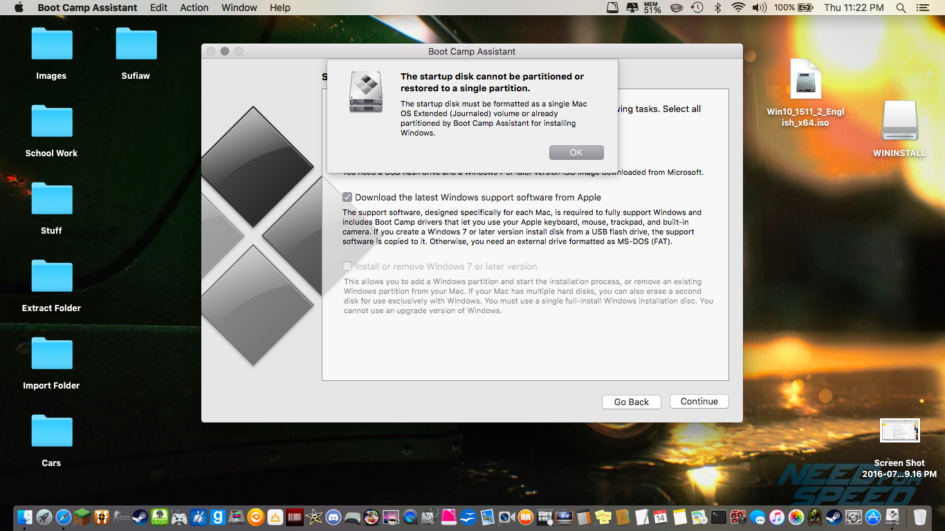 Trying to install Windows 10 with Boot Ca… - Apple Community