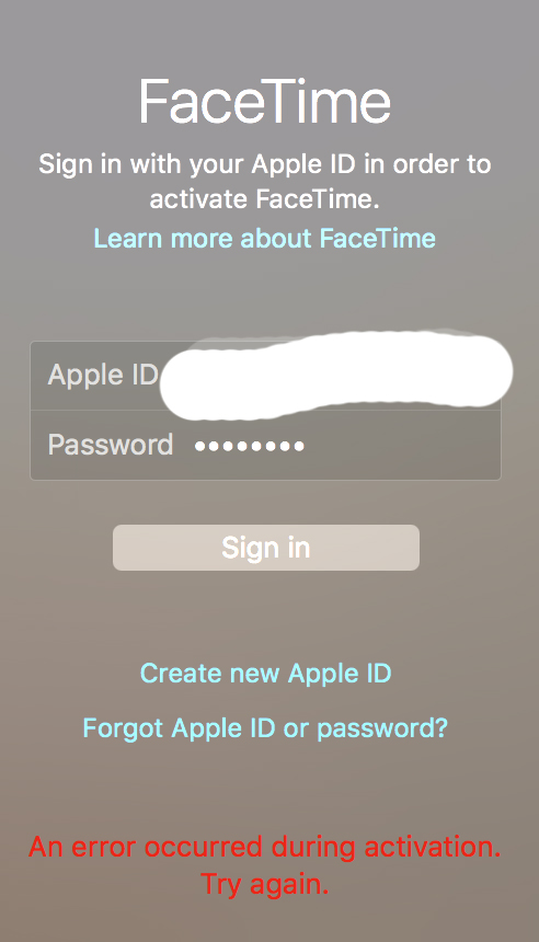 an error occurred while activating facetime mac