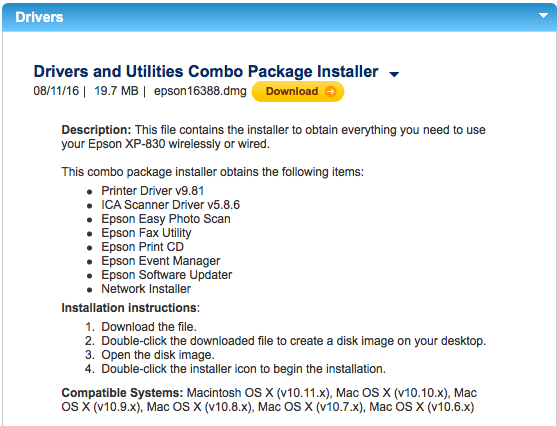 drivers and utilities combo package for mac