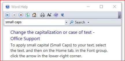 small caps word 2011 mac