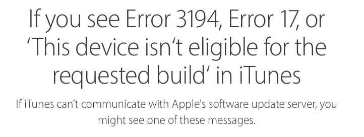 iPhone cannot be restored, error 3194 - Apple Community