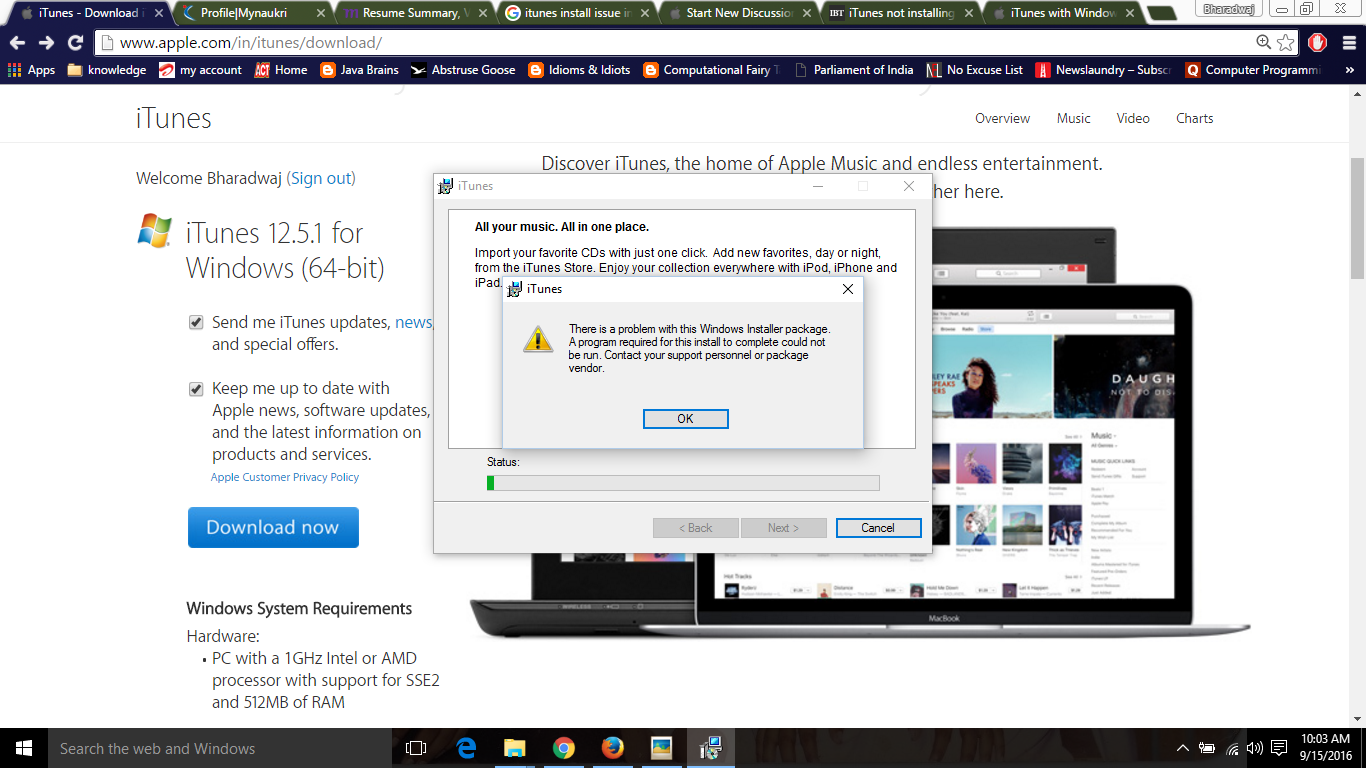 iTunes 64 bit installation issue in Windo… - Apple Community
