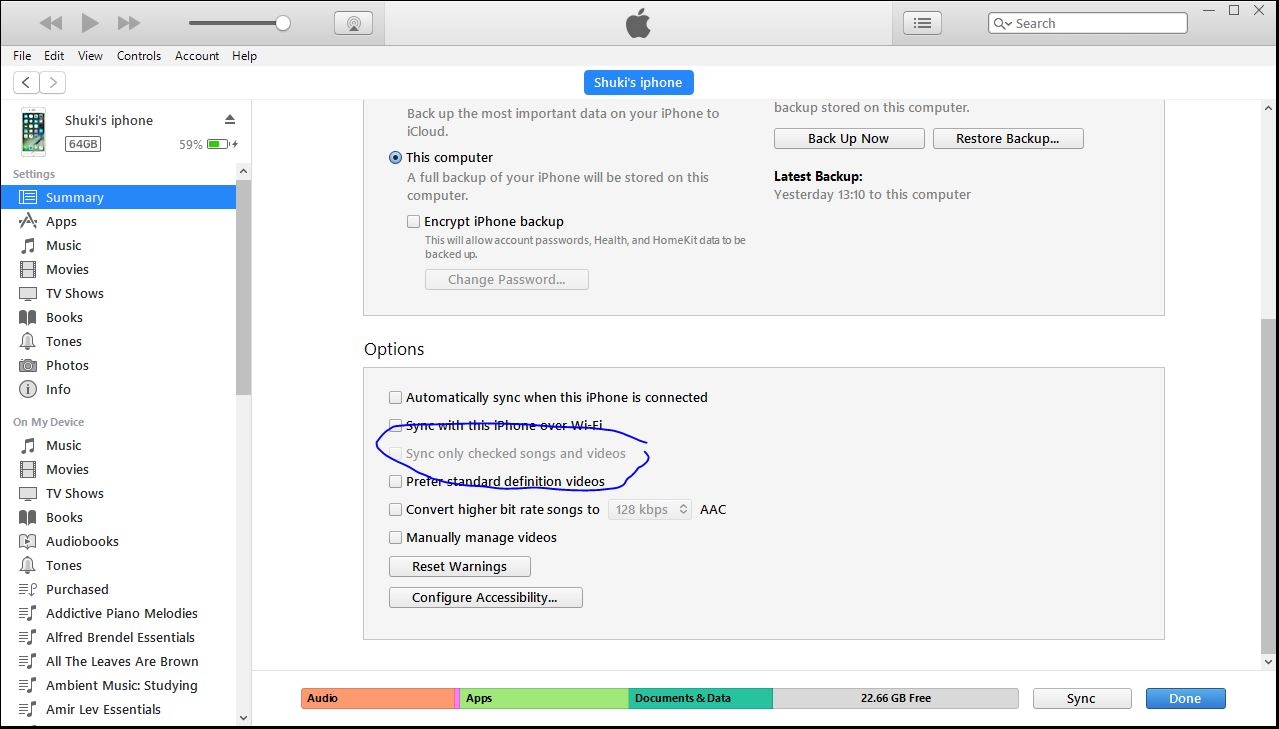 sync only checked songs and video grayed … - Apple Community