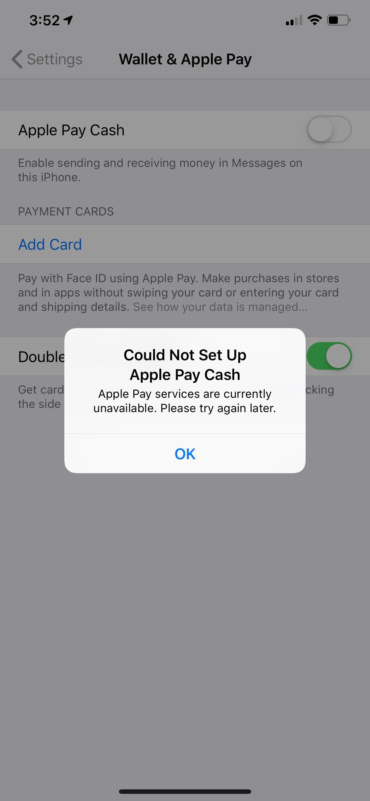 Could Not Set Up Apple Pay Cash ERROR - Apple Community