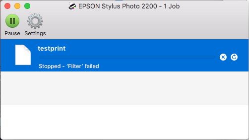 stopped filter failed epson mac