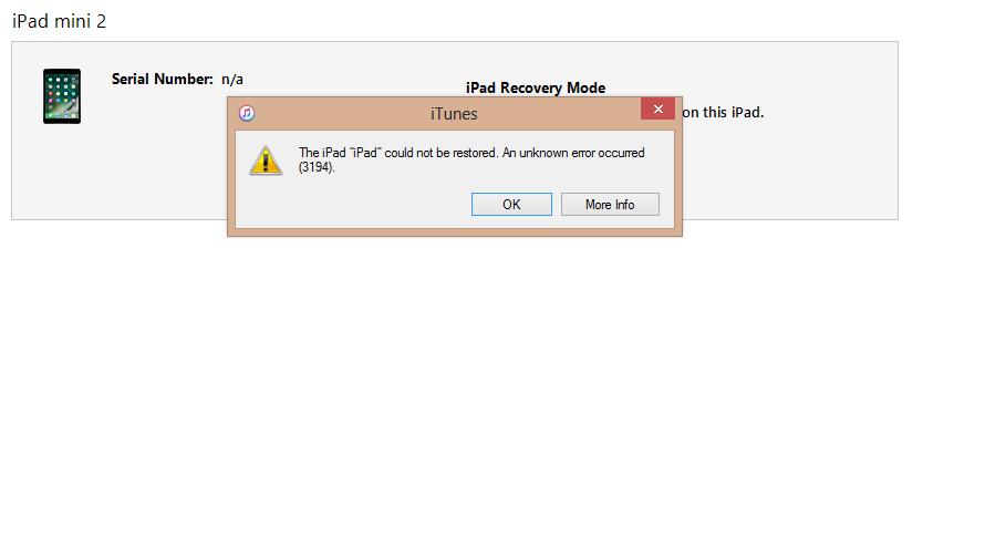 iPad mini 2 restore error 3194 ( ios 10 1… - Apple Community