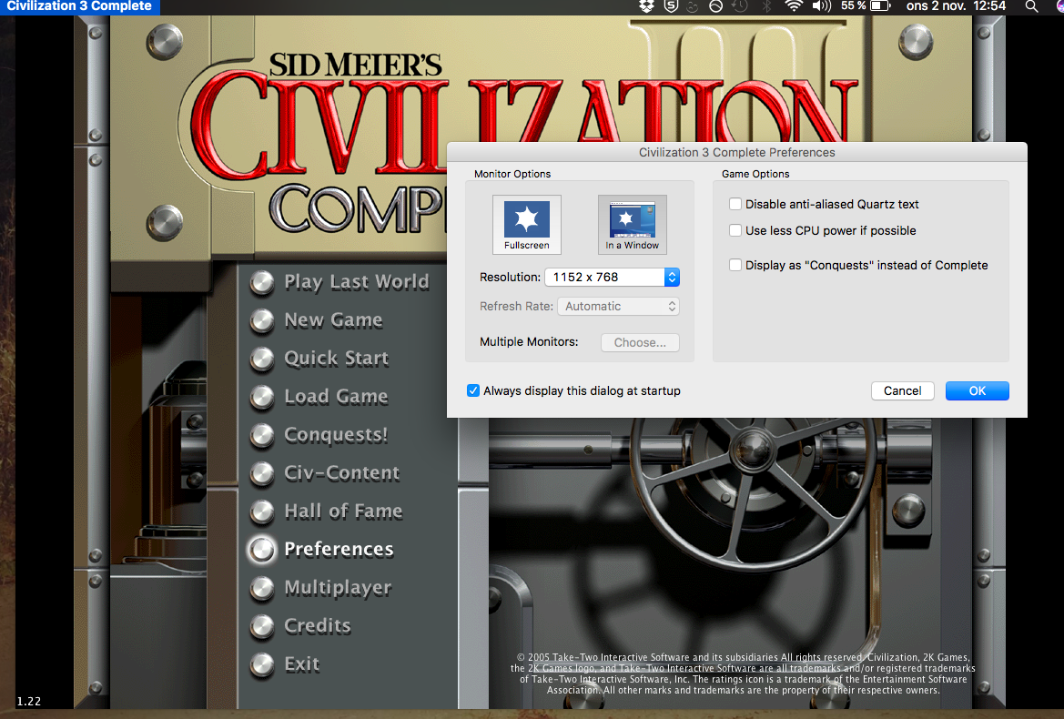 civ iv mac windowed mode