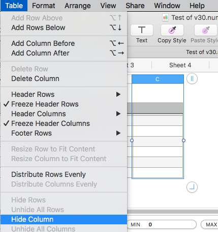 how do i hide or unhide columns in Numbers - Apple Community
