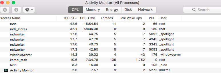 mdworker, md_stores, mds using CPU - Apple Community