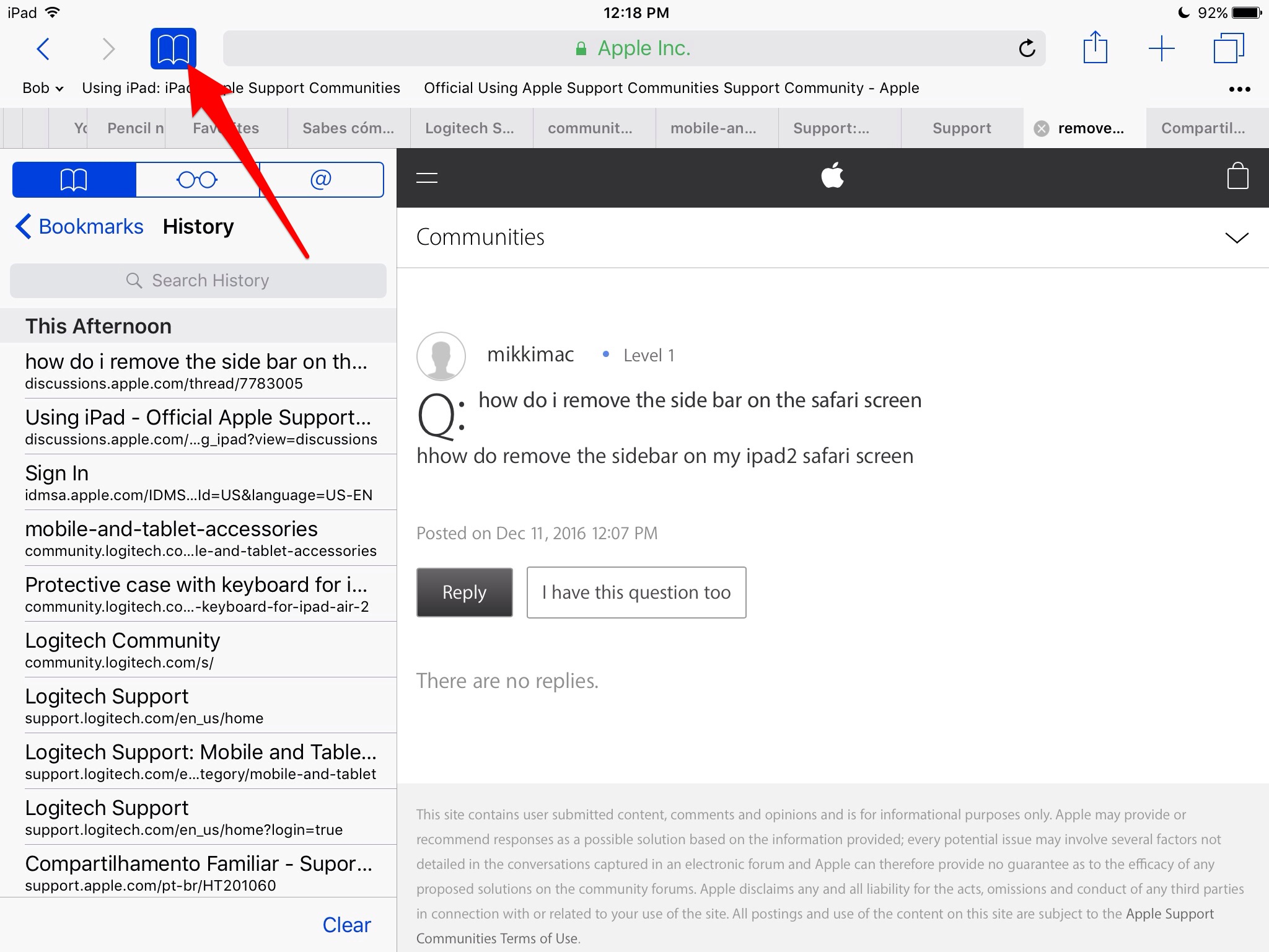 How to remove bookmarks sidebar on safari on ipad