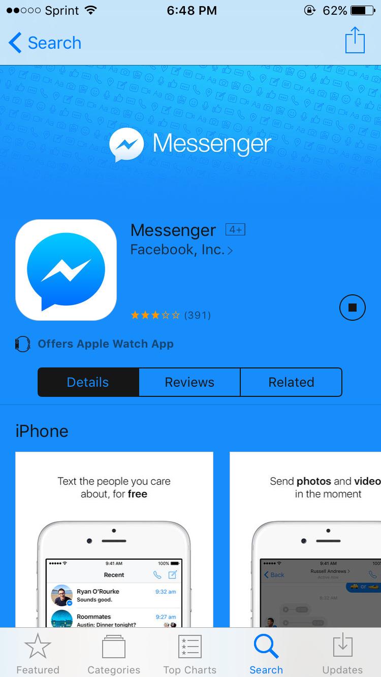 facebook messenger app wont download   ho… - Apple Community