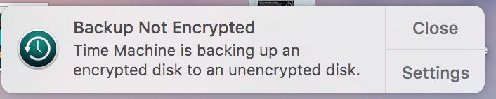 Disable TimeMachine Backup Not Encrypted … - Apple Community