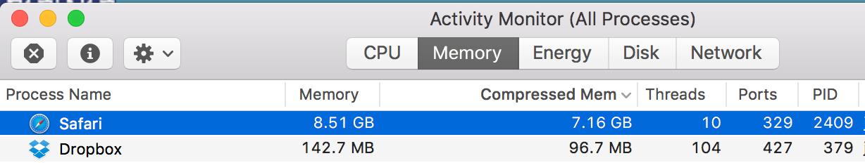 macOS Sierra Safari using all system memo… - Apple Community