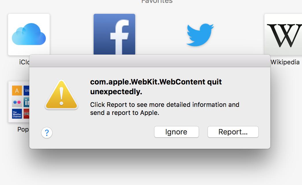 com apple WebKit WebContent error on Safa… - Apple Community