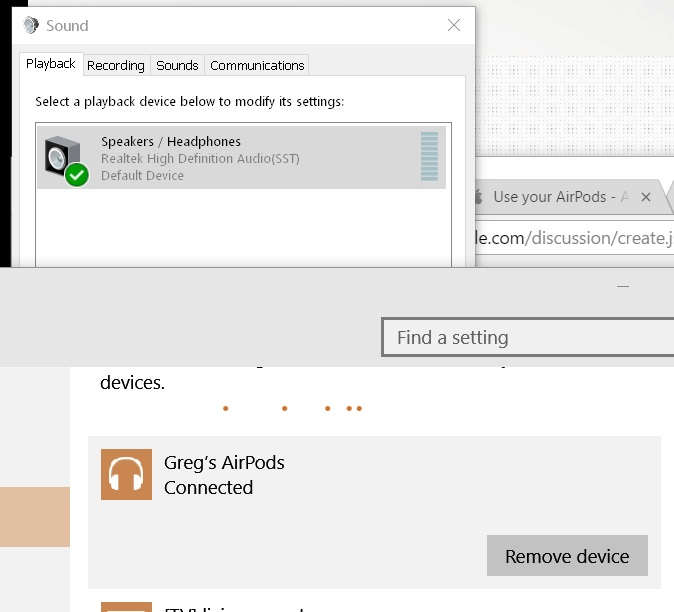 Airpods connect to windows 10 but do not … - Apple Community