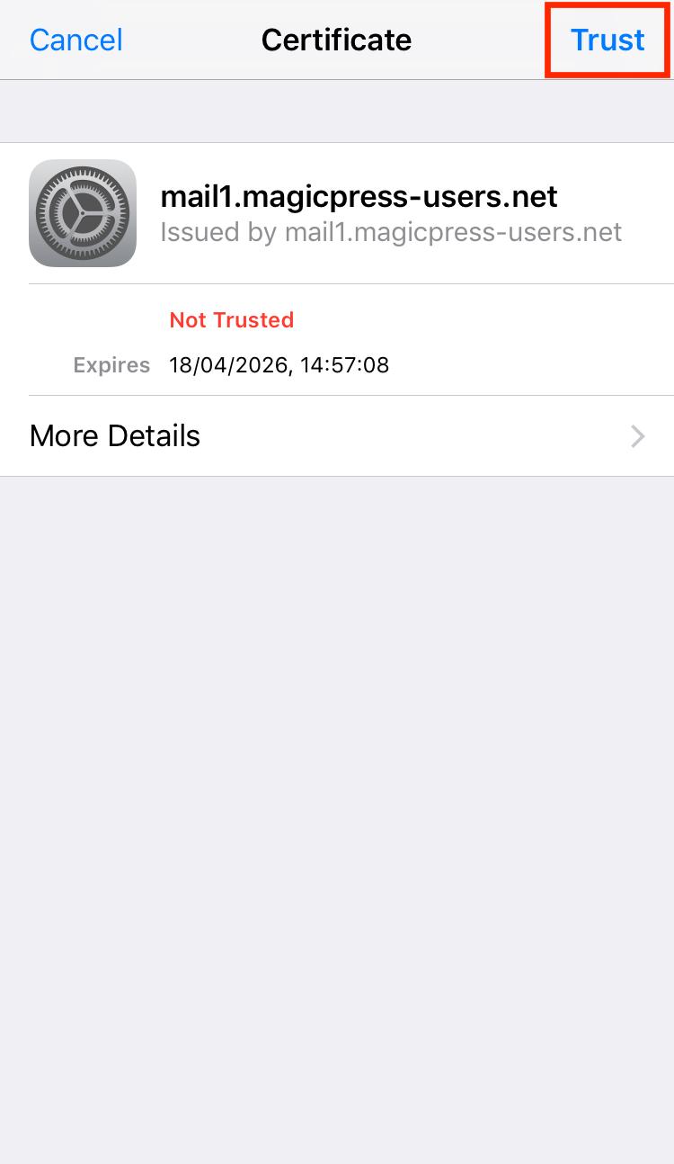 Cannot verify server identity