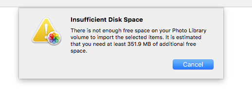 insufficient space in photos for mac - Apple Community
