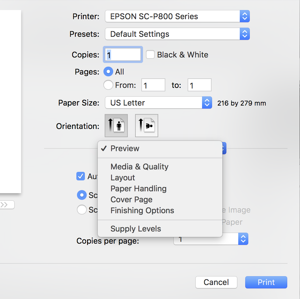 MISSING PRINT PREVIEW OPTION IN OSX 10 12… - Apple Community