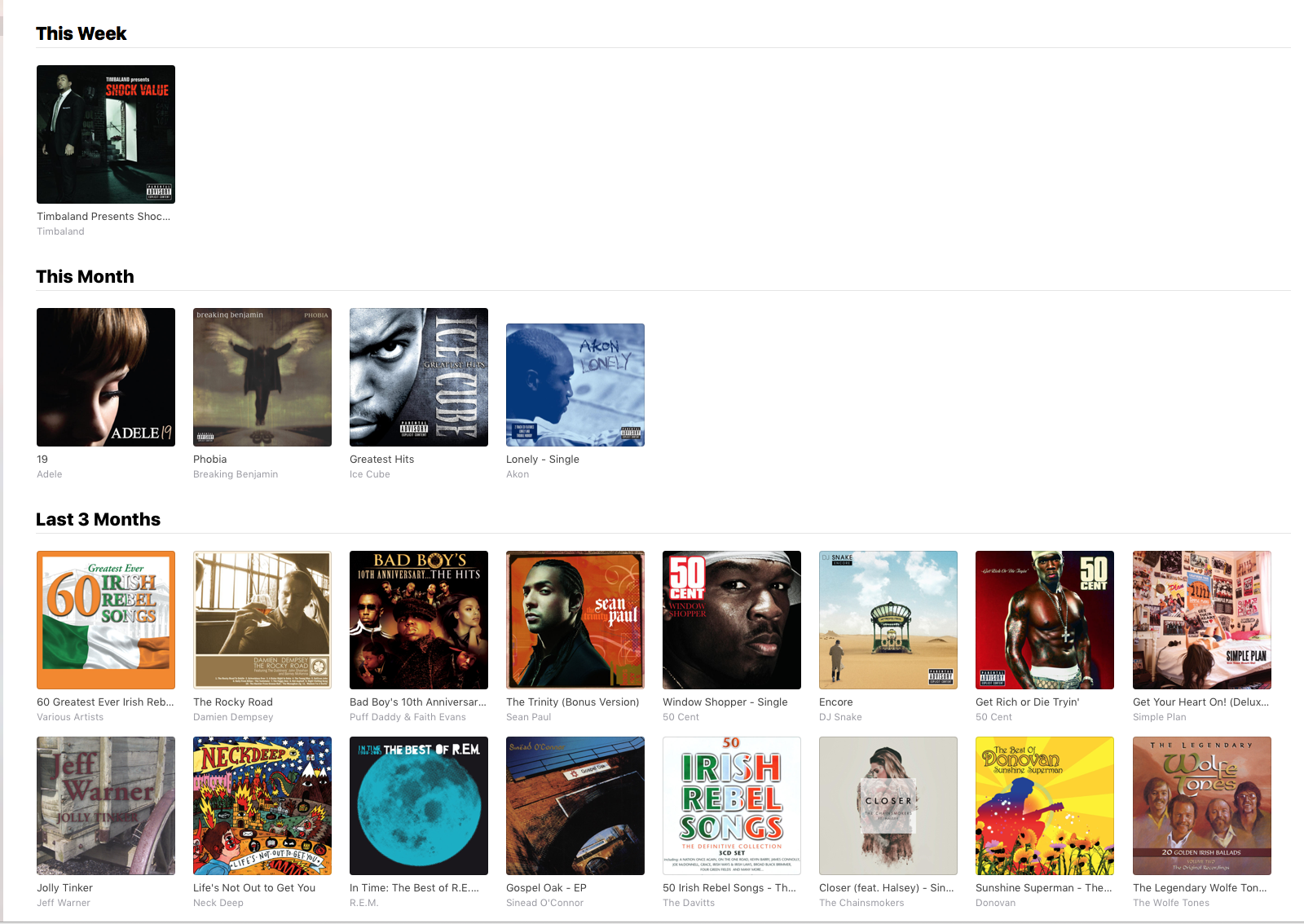 Recently Added Apple Music Showing Olde